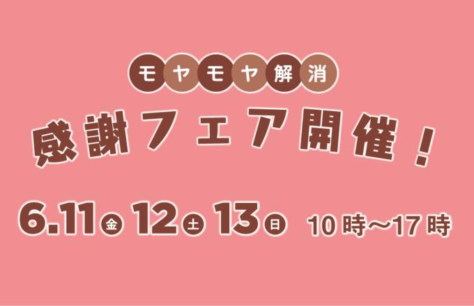 【イベント】6/11(金)12(土)13(日):モヤモヤ解消感謝フェア開催!